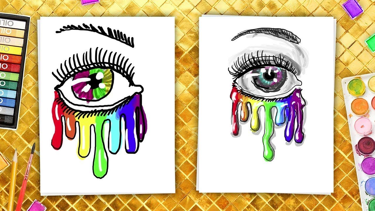 How To Draw An Eye And Rainbow Tears Coloring Book For Kids Coloring Books Eye Drawing Drawings