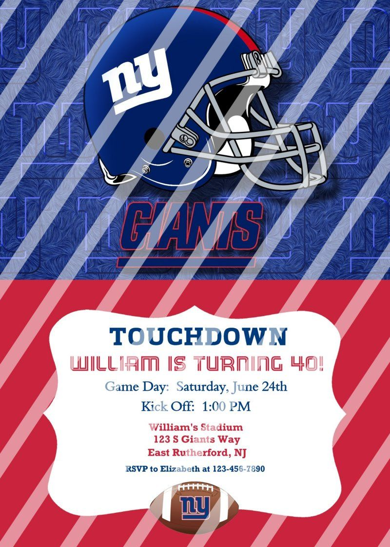 New York Giants Personalized Digital Party Invitation #55 (any ...