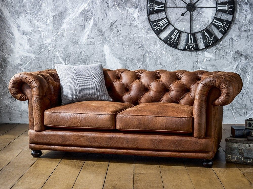 Cara Faux Leather Chesterfield Sofa Bits Bobs Doo Dahs Chesterfield Leather Recliner Faux Leather Sofa Faux Leather Couch Brown Leather Sofa