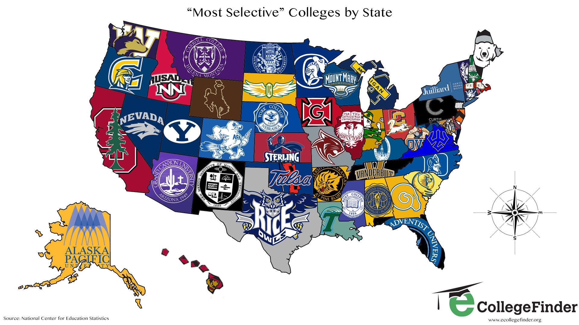 The most selective US Colleges by state. [1920x1080 ...
