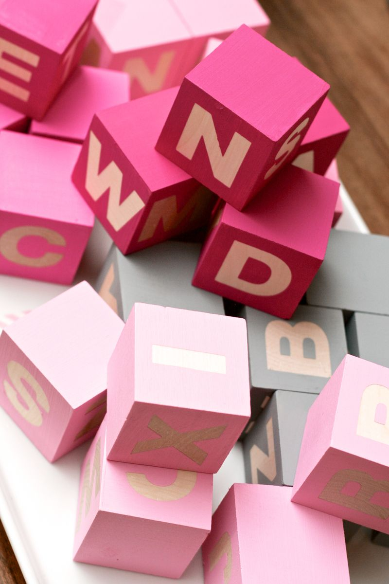 DIY alphabet baby blocks at PagingSupermom.com #babyshower #babygirl ...