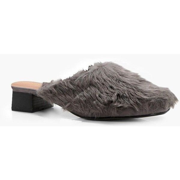 db1ecbc0433 Boohoo Hollie Fur Mule Loafer ( 9) ❤ liked on Polyvore featuring shoes