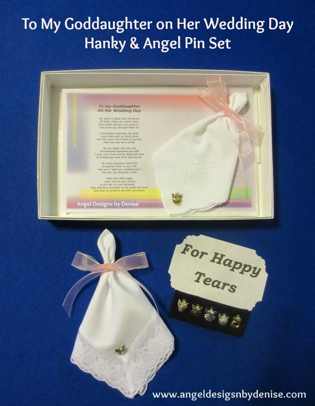 To My Godmother On My Wedding Day Hanky Angel Pin Set Is A