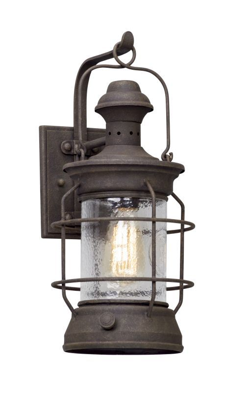 Troy lighting b5052 atkins 1 light 8 wide hand forged outdoor wall troy lighting b5052 atkins 1 light 8 wide hand forged outdoor wall sconce with centennial aloadofball Image collections