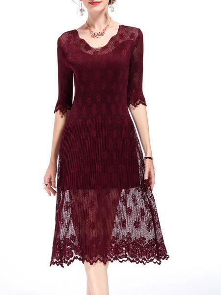 V Neck Half Sleeve Floral Lace Elegant A-line Midi Dress