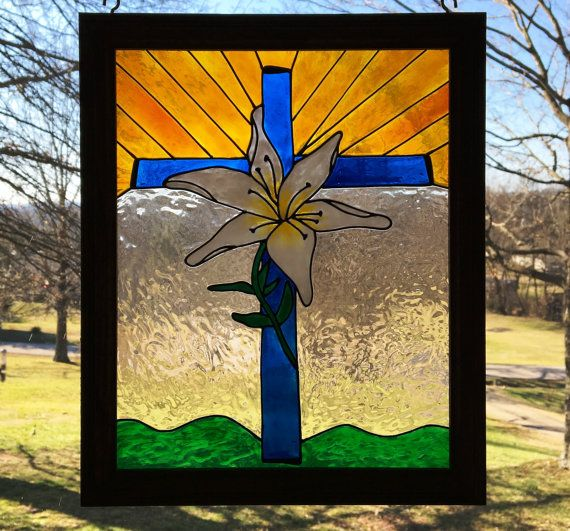 Cross Stain Glass/ Easter Lily and Cross/ by CreativeGlassByBecky