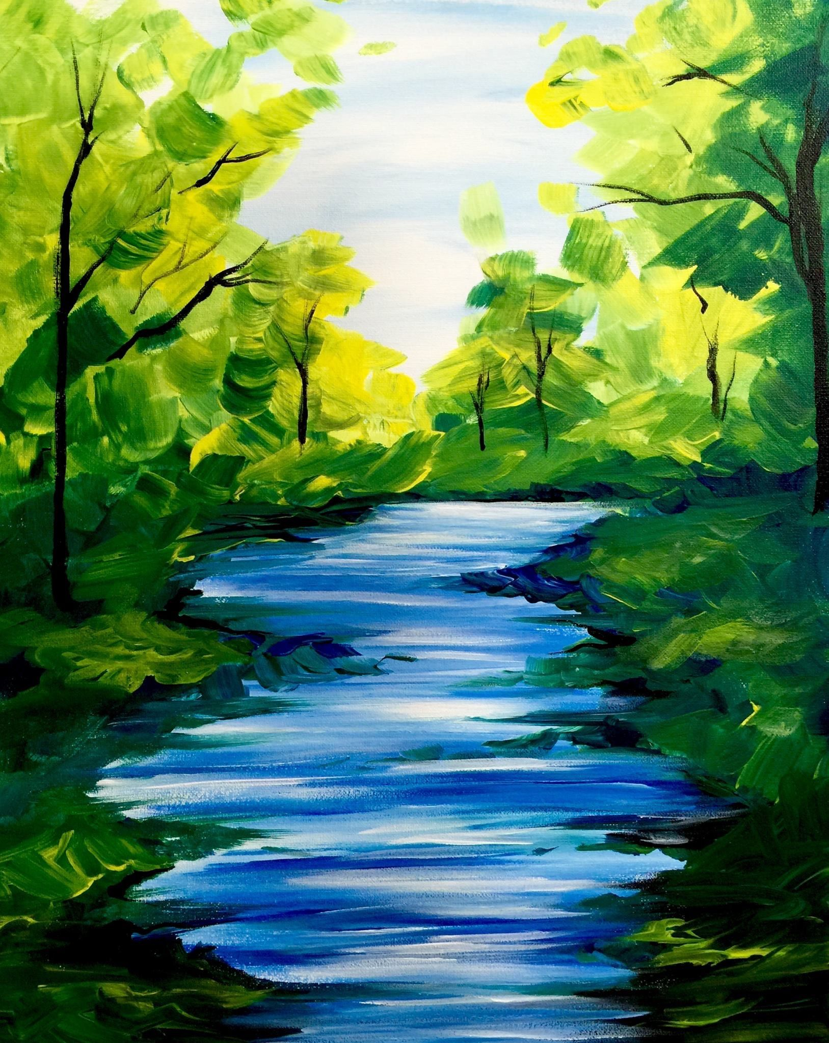 Practice A Basic River Shape One Point Perspective Easy Landscape Paintings Nature Paintings Acrylic Landscape Paintings Acrylic