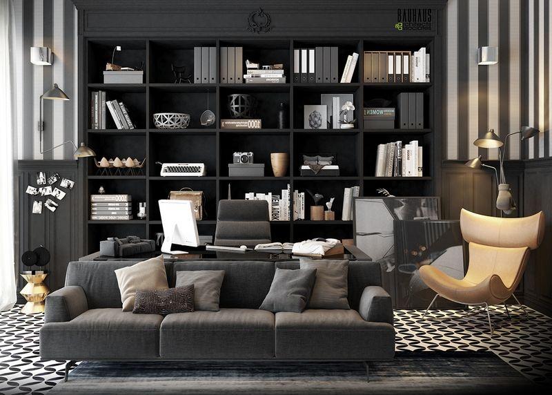 Meubles bureau maison de luxe bibliothèque anthracite et