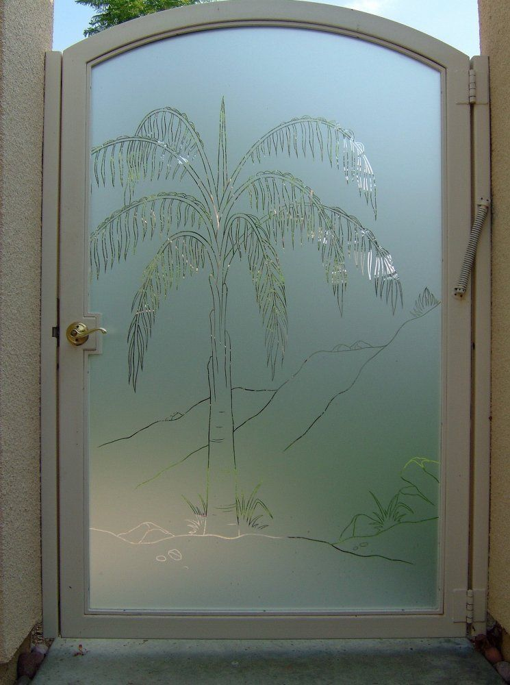 palm tree etched glass shower door glass stained leaded