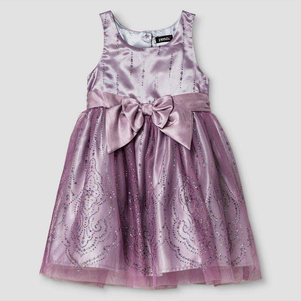 Zenzi Toddler Girls' Mesh Glitter Printed Dress 3T - Lilac Purple, Toddler Girl's