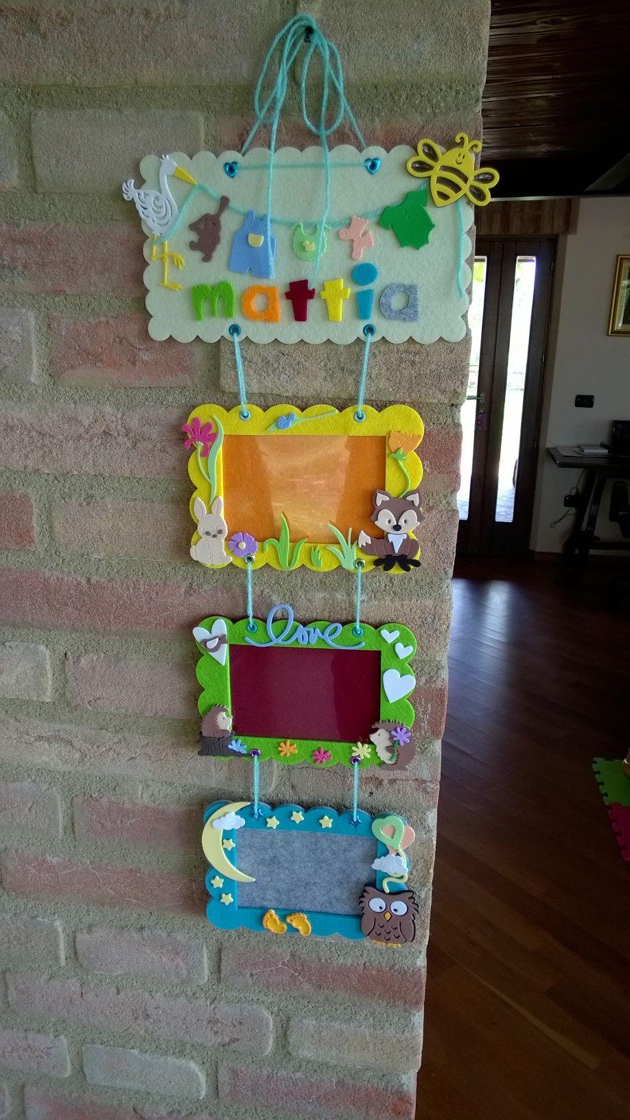 Cornici Bambini ~ Cornice multipla in feltro e decorazioni in gomma crepla