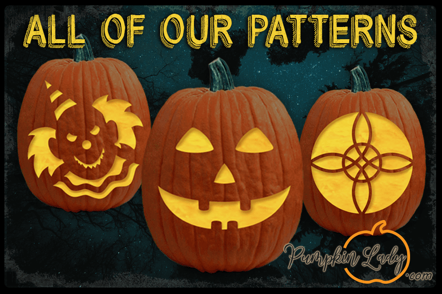 Hundreds of FREE Pumpkin Carving Patterns, Pumpkin Carving Stencils, Halloween Crafts & Activities, and much More! - The Pumpkin Lady #pumkincarvingdesigns