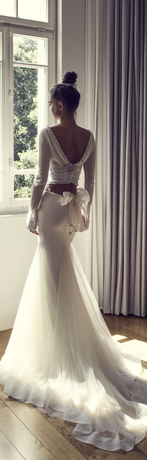 Unique two piece longsleeve fitandflare wedding dress wedding