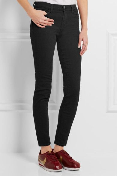 Black stretch-denim Button and concealed zip fastening at front 92.5% cotton, 5%…
