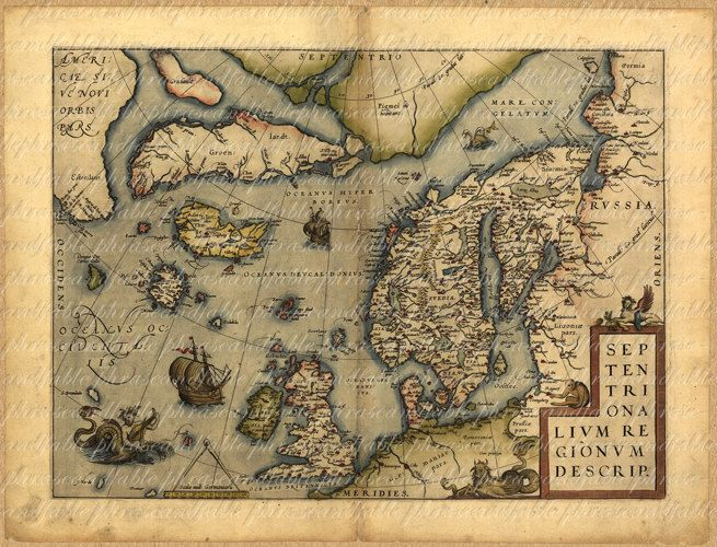 Map of scandinavia and united kingdom from 1500s england ancient old map of scandinavia and united kingdom from 1500s 011 england ancient old world cartography united kingdom viking digital image download gumiabroncs Gallery