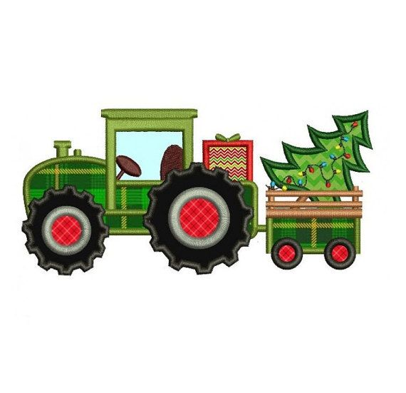 Embroidery Design Tractor And Christmas Tree