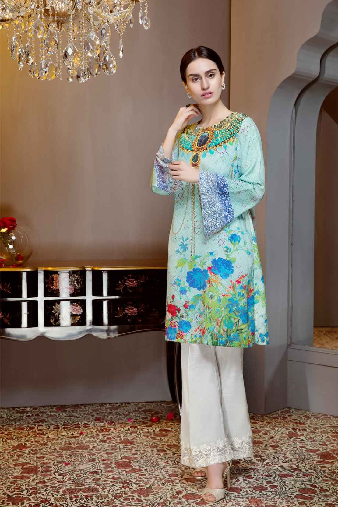 Beautiful blue Pakistani unstitched dress by Limelight printed