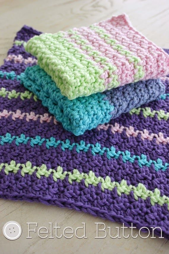 Felted Button Colorful Crochet Patterns Mamas Wash Cloths Free