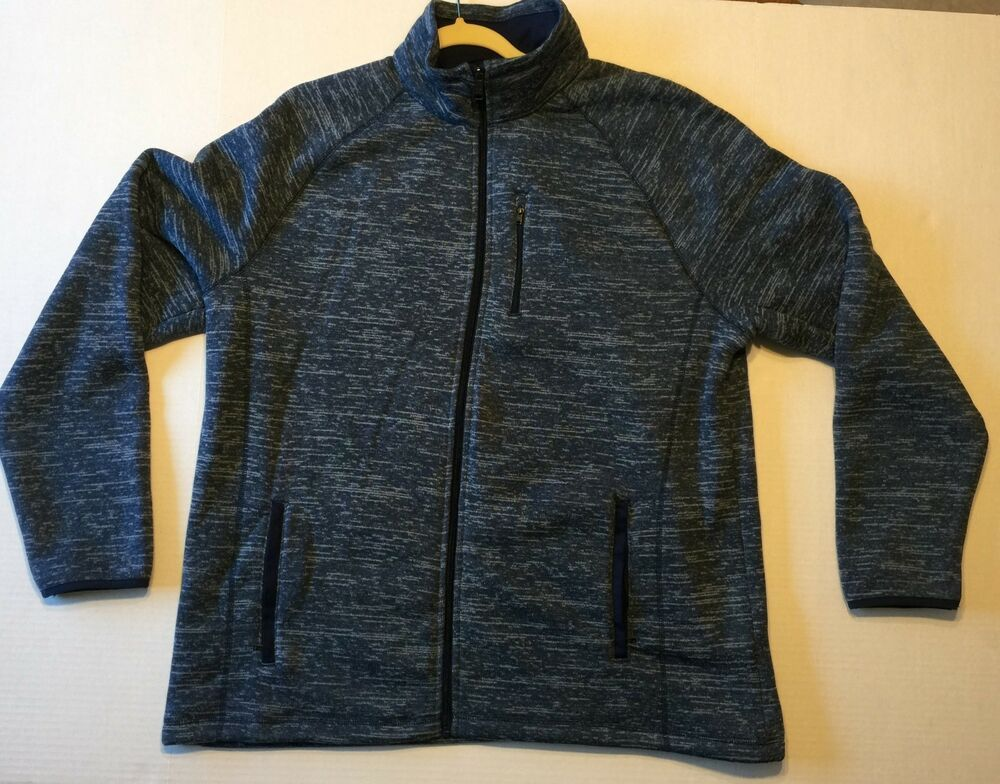 Men's SWISS TECH XL Fleece Sweater Jacket Blue Extra Warm