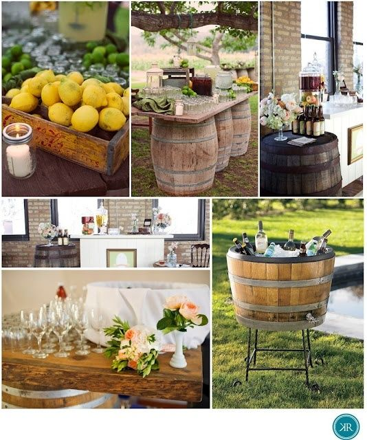 Lovely Outdoor Country Wedding Ideas   I Like The Wine Barrel Table And Ice Chest Great Ideas