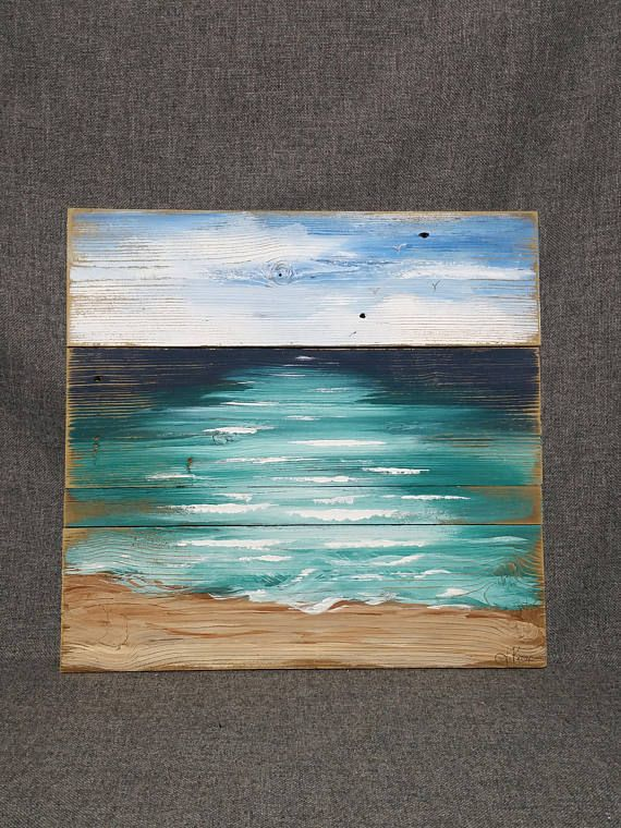 Beach Art Seascape Pallet Painting Shabby Ocean Reclaimed Wood Hand Painted Upcycled