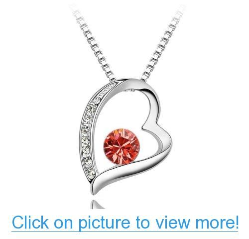 Valentine's Day Gifts - Swarovski Austrian Crystal Elements Eternal Love Heart Pendant Necklace - 18 Inch Chain - July Birthstone Ruby - Red #Valentines #Day #Gifts #Swarovski #Austrian #Crystal #Elements #Eternal #Love #Heart #Pendant #Necklace #Inch #Chain #July #Birthstone #Ruby #Red