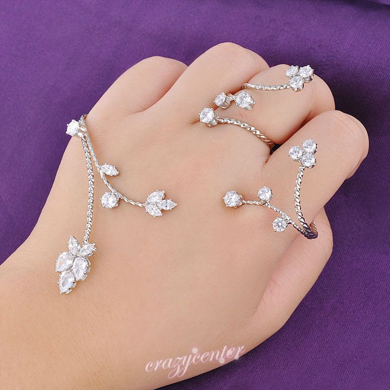 Aaa Zirconia Cluster Palm Cuff Ring Bracelet Women Hand