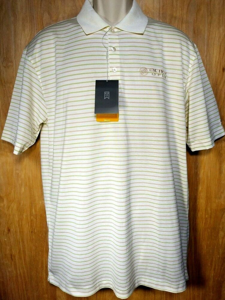 19526050 TIGER WOODS Men's Nike Dri Fit Golf Shirt Size Medium NEW Buick Open Cream  Polo #