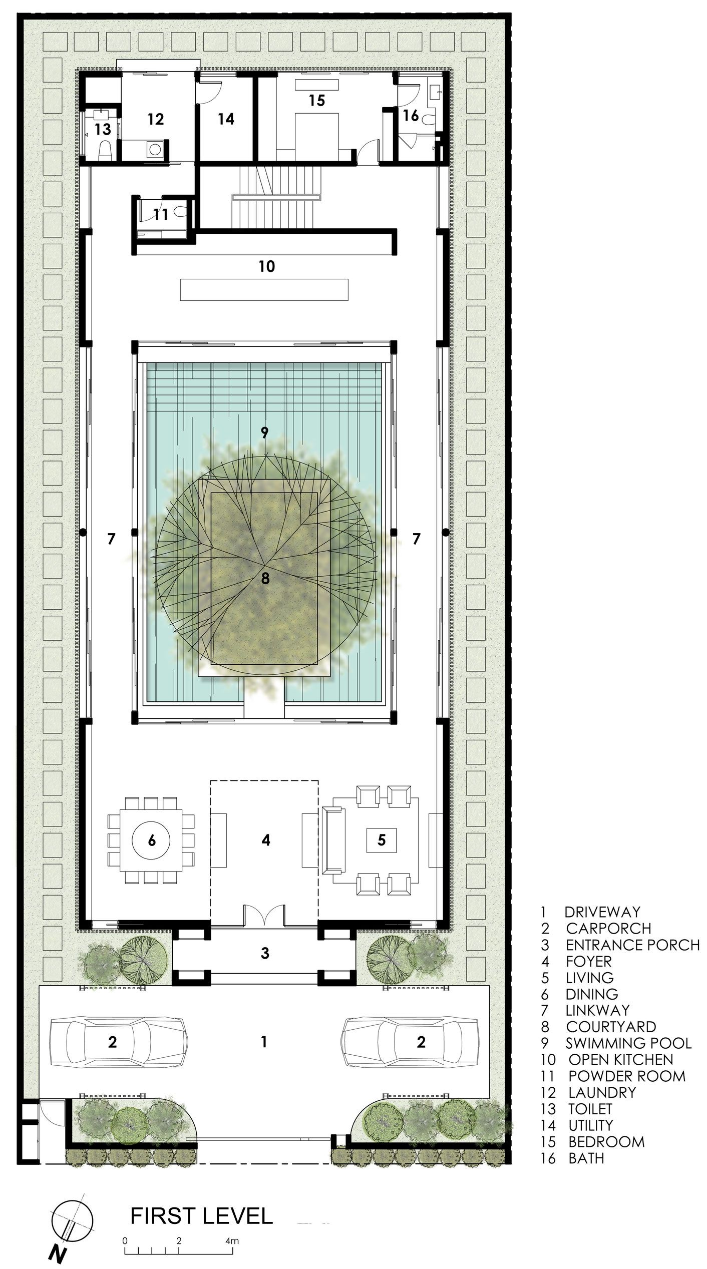 Modern tree house floor plan images for Plan architecture villa
