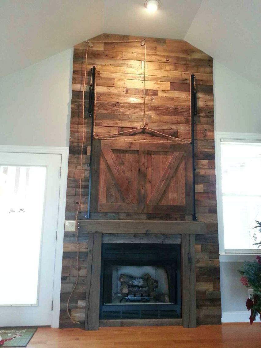 overstock shipping barnwood wood stand fireplace garden contemporary product with inch home tv today free