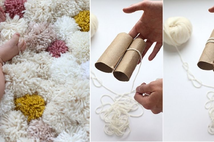 fabriquer un joli tapis de chambre avec de la laine et des rouleaux de papier hygi nique. Black Bedroom Furniture Sets. Home Design Ideas