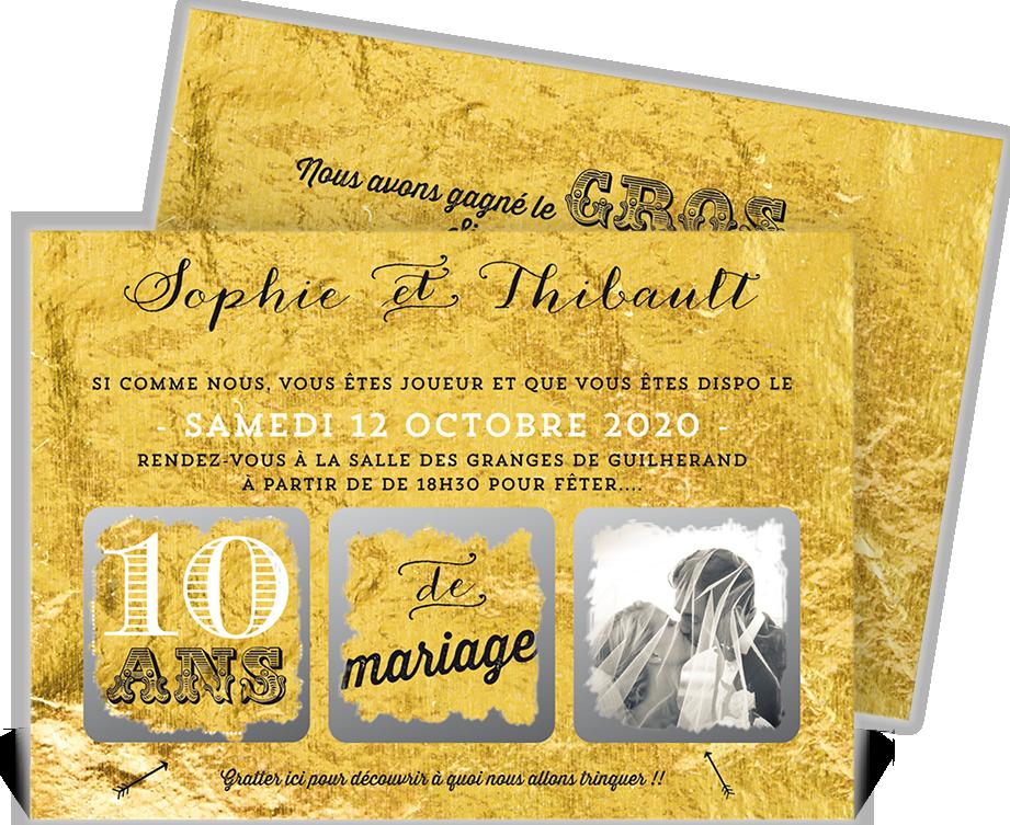 Invitation Anniversaire De Mariage à Gratter Pour Laisser La