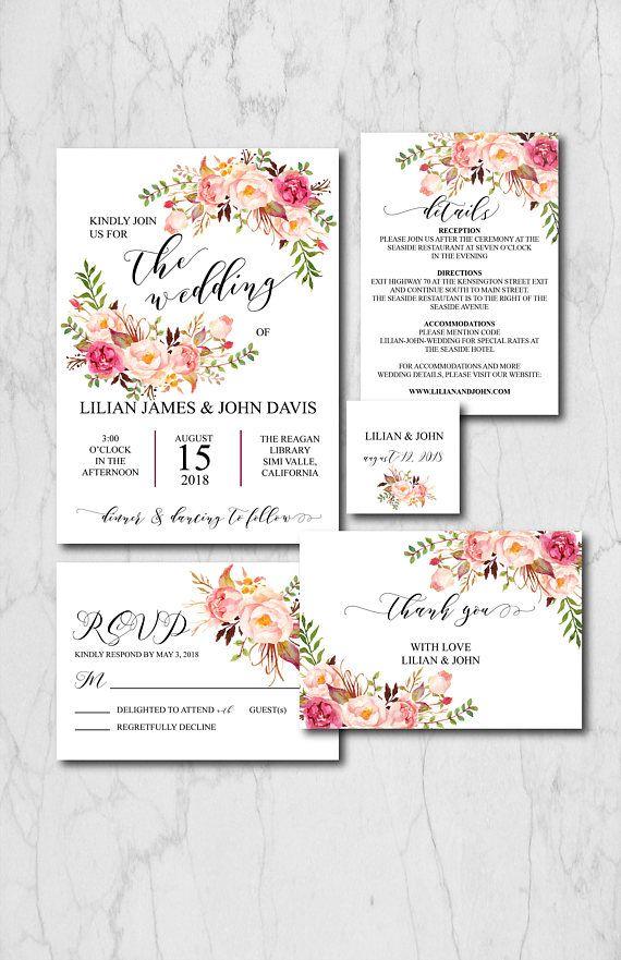 Boho Chic Wedding Invitation Suite Template Rustic Wedding