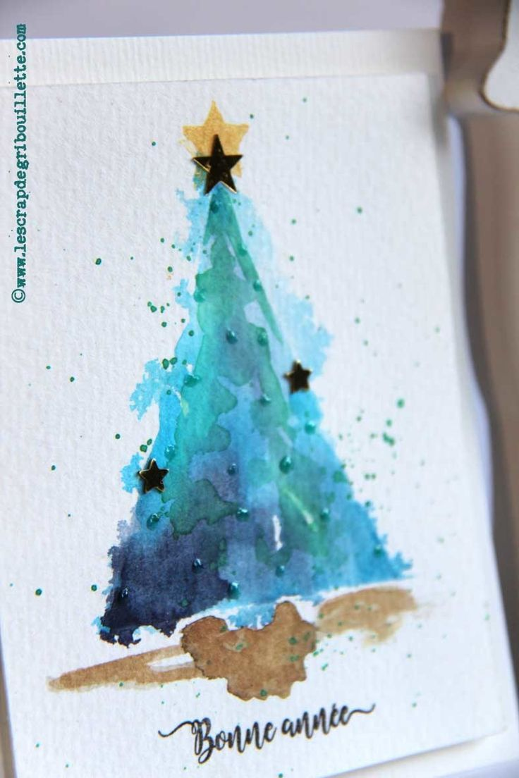 Cartes Petits Sapins Aquarelles Watercolor Cards Gribouillette