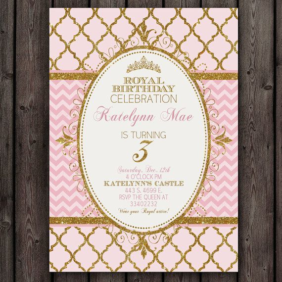 Pink And Gold Princess Invitation Royal Party Invitations