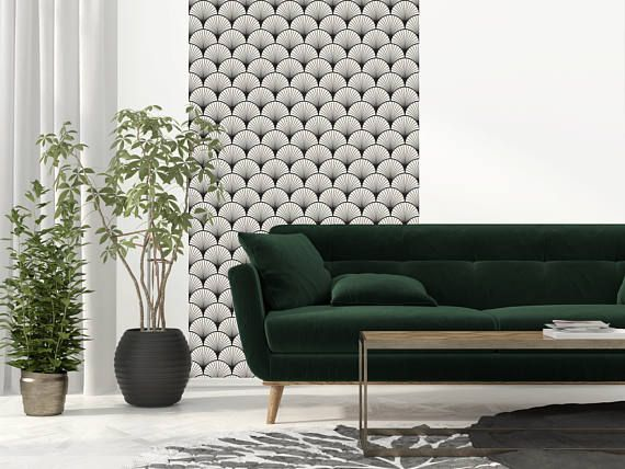 Black SEIGAIHA - wallpaper adhesive repositionable