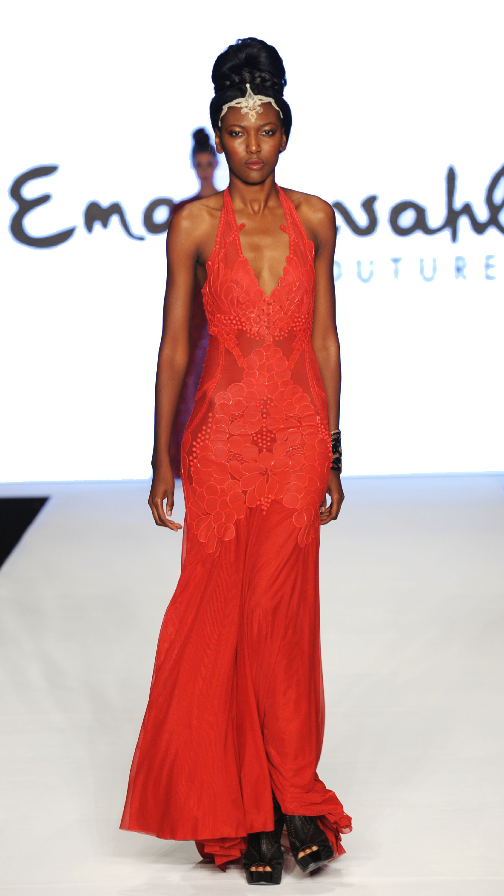 Hand painted embroidery. Red evening gown. | Miami Beach ...