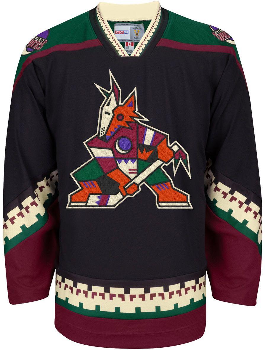 256243fc9f6 Phoenix Coyotes CCM Vintage 1996 Black Replica NHL Hockey Jersey