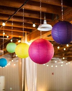 Clever Way To Hang Paper Lanterns With Strings Of Beads