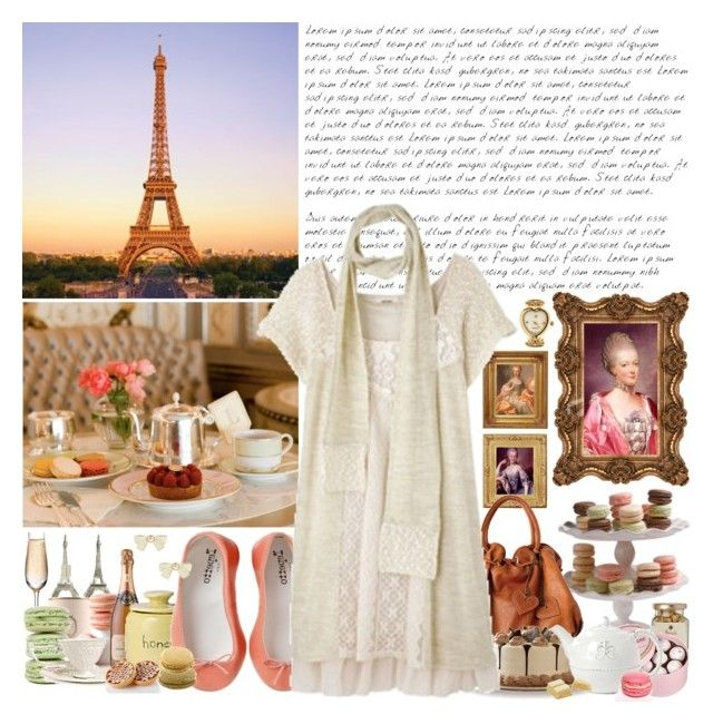 """""""Le matin"""" by heyjetaime ❤ liked on Polyvore featuring Debenhams, Ladurée, Harrods, Charbonnel et Walker, Repetto, Forever 21, paris, dress, marie antoinette and scarf"""
