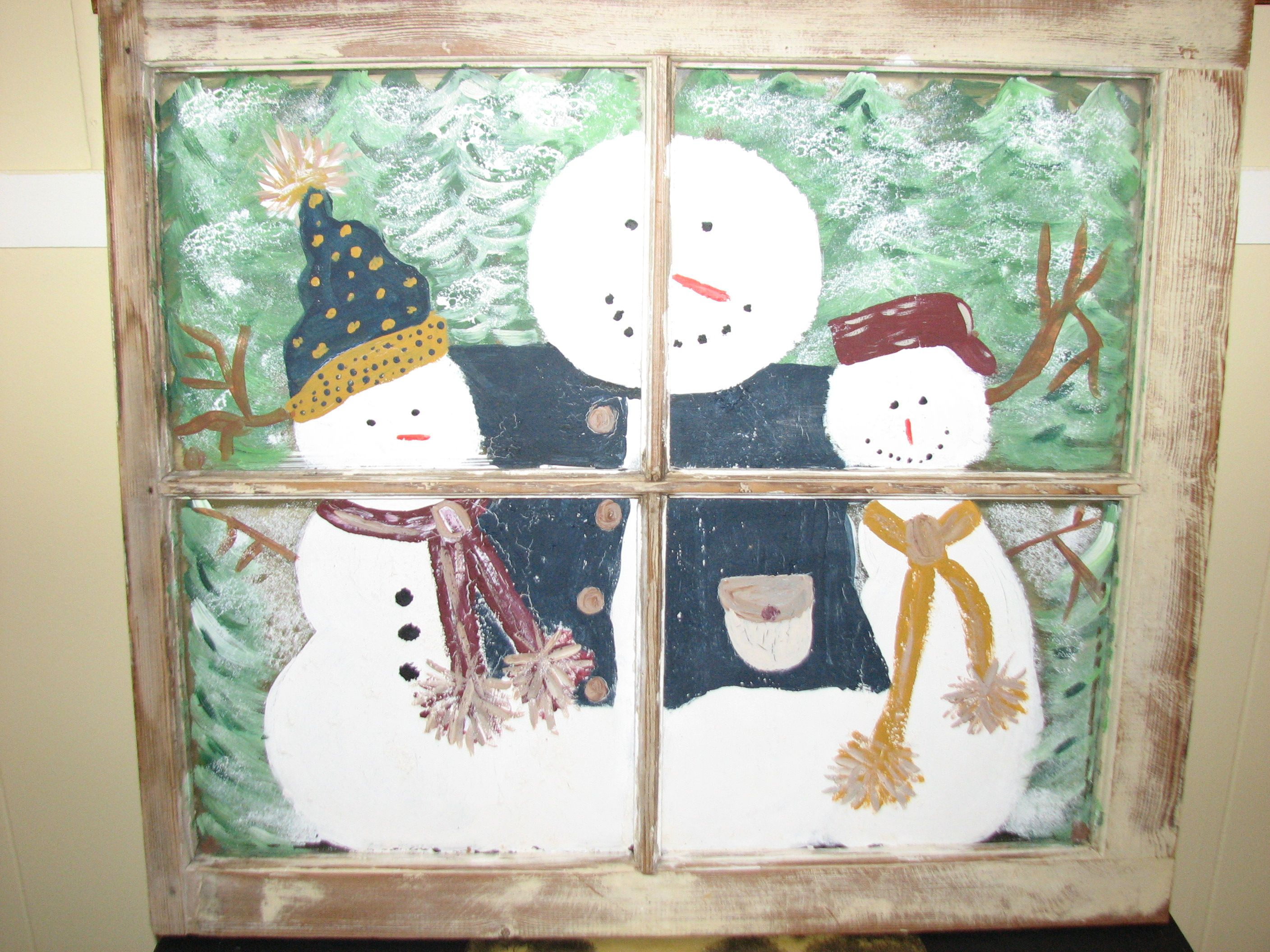 painting on old window