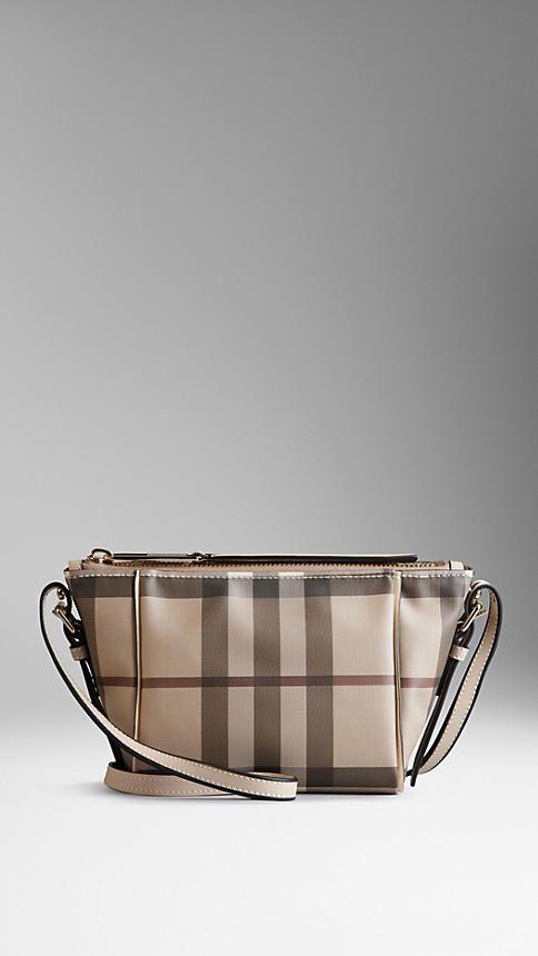 b83a2f60f655 Small Smoked Check Saddle Stitch Crossbody Bag
