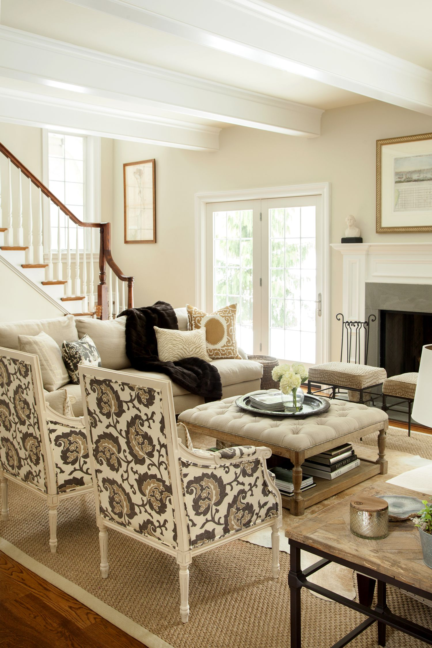 print chairs living room sears sofas neutral hip traditional large scale on two facing each other design manifest chestnut hill family