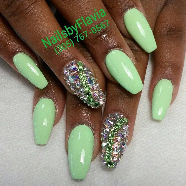 Mint Coffin Nails + Bling ✨ | Nails Ideas | Pinterest | Uñas ...