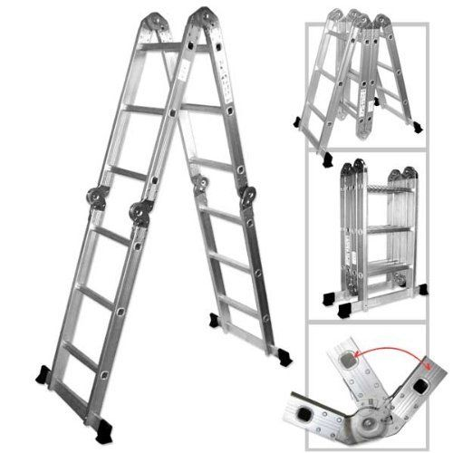 Multi Purpose Multiple Position 12 Step Aluminum Folding Ladder By Generic 75 24 Multi Purpose 12 Step Aluminum Foldi Folding Ladder Aluminium Ladder Ladder