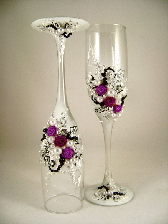find this pin and more on copas gorgeous wedding champagne glasses hand decorated - Glass Decorations