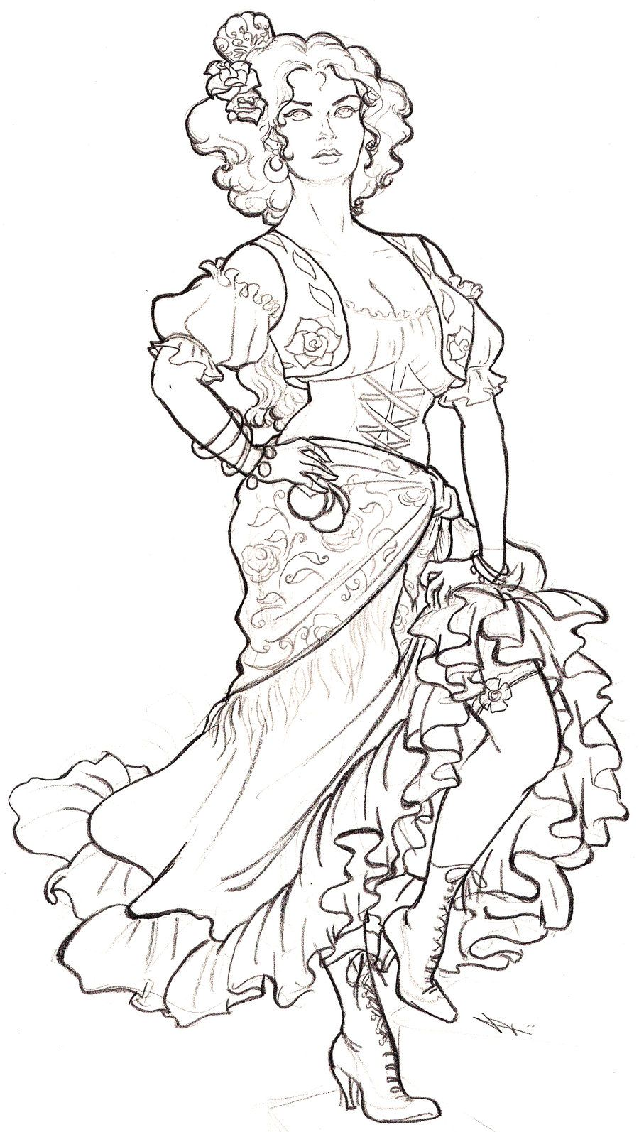 Dancer Sketches Images & Pictures - Becuo | Coloring book ...