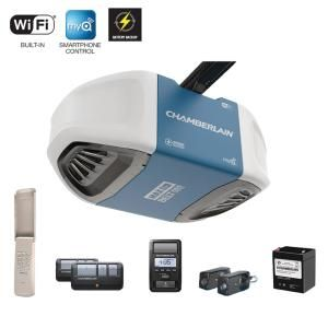 Chamberlain 1 1 4 Hp Equivalent Ultra Quiet Belt Drive Smart Garage Door Opener With Battery Backup B970 The Home Depot Chamberlain Garage Door Opener Chamberlain Garage Door Smart Garage Door Opener