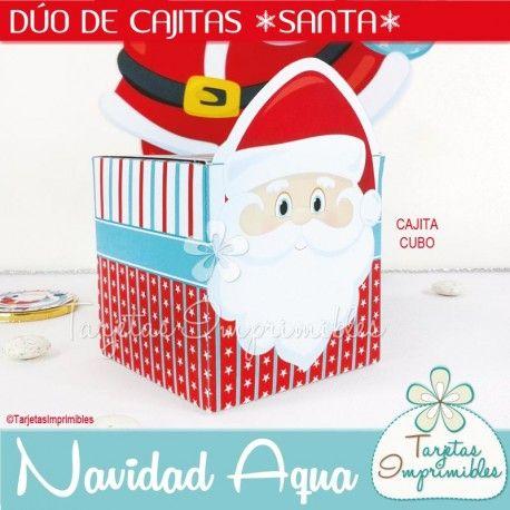 Navidad Aqua Cajitas Santa Claus | Navidad, Santa and Aqua