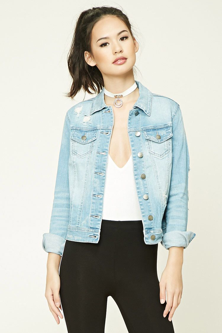 Distressed denim jacket fallspringsummer outfits pinterest